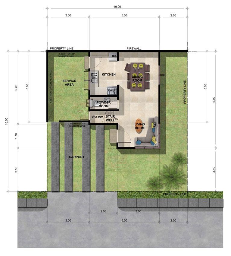Narra 2-Storey House with Balcony Floor Plan
